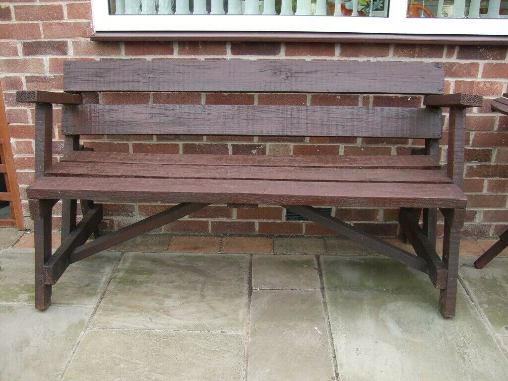Garden Solid Wood Rustic Bench In West Bridgford