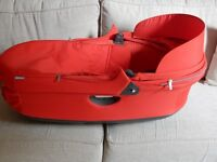 STOKKE carrycot in red suitable for Crusi and Trailz - excellent condition