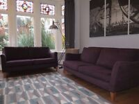 Purple/Plum NEXT 2 & 3 Seater Sofas (2 Piece Suite)