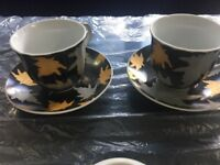 2 x cup and saucer gold grey leaves
