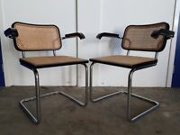 PAIR OF DESIGNER MARCEL BREUER CESCA CHAIRS MADE IN ITALY VINTAGE ARMCHAIR CHAIR DELIVERY AVAILABLE