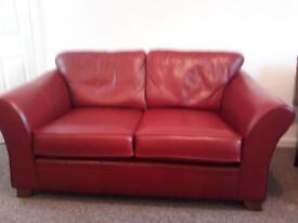 2 seater sofa. Red leather