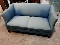 vintage retro blue wool 2 seater sofa couch mid century Danish reupholstery