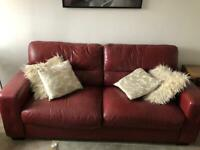Red leather 2 seater sofa-bed+3 seater sofa in great condition collection only