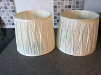 2cream silk lampshades in good condition 21 centimetres high