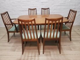 G-plan Extending Dining Table With Six Chairs (DELIVERY AVAILABLE)