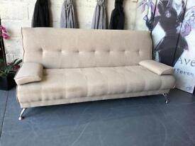 New Venice Fabric 3 Seater Sofabed Upholstered in a Cream Colour with Arm Cushions