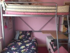 Girls High Sleeper with pink futon and desk combination