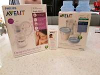 Philips Avent single electric breast pump with storage cups and extras