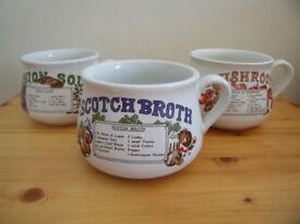 3 vintage (1970s-80s?)/retro/kitsch soup recipe soup mugs - mushroom, Scotch broth & onion soup.