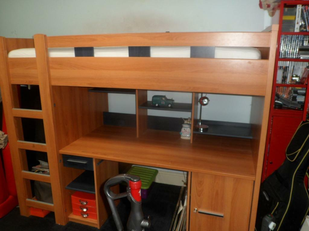 Cabin Bed High Sleeper With Desk Shelves Wardrobe And