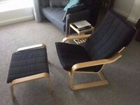 black ikea poang chair with stoll
