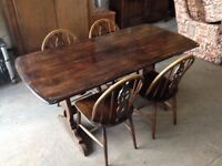 'ERCOL' SOLID ELM WOOD DINING TABLE & 4 WHEEL BACK CHAIRS ~~ CAN DELIVER