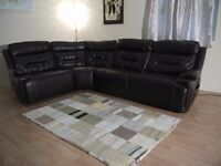 Ex-display Endurance Invincible electric recliner brown leather corner sofa