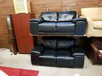 2 2 seater sofa in black leather