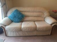 2 and 3 cream leather sofas