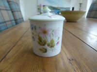 A LOVELY SHELLEY PRESERVE POT WITH LID - WILD ANENOME