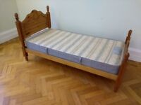 Lovely Solid Wood Single Bed + Mattress VGC