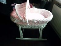 Brand new pink moses basket