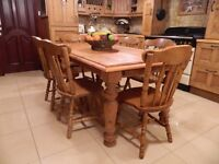 Large Plank-Pine Country Kitchen Table & 6 Chairs