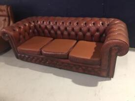 x2 Original Vintage Chesterfield 3 Seater Sofas