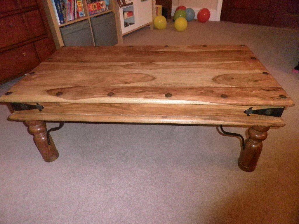 """For sale Coffee Table Solid Sheesham Wood Stylein Carnoustie, AngusGumtree - For sale Solid Coffee Table, Sheesham Wood Style. 43"""" long, 23.5"""" wide, 16"""" high. very good condition"""