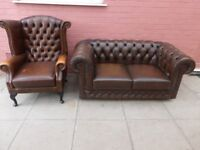 A Brown Leather Chesterfield Rustic Two Piece Suite