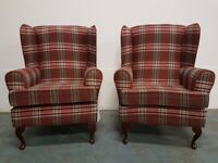 2 x TARTAN FABRIC QUEEN ANNE LEGS WINGBACK ARMCHAIR / FIRESIDE WING BACK HIGH BACK CHAIR CAN DELIVER