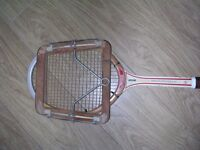 Vintage wooden Dunlop tennis racquet and press