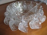 Vintage 26 Piece Punch Bowl with 12 Glasses & Ladle - Anchor Hocking - Ideal for Pimms
