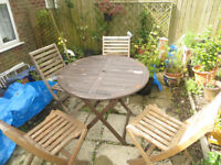 garden table and 4 chairs, folding wooden garden table and 4 chairs
