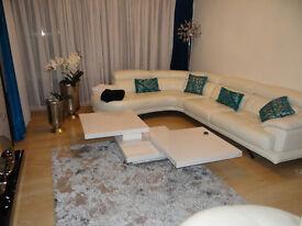 nice and Italian design curve white pure leather sofa