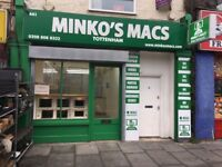 MINKO'S MACS TOTTENHAM APPLE MAC SUPPORT DATA RECOVERY ICLOUD LOCK REMOVAL REFURBISH NO FIX NO FEE