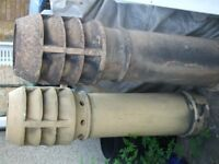 2 large victorian chimney pots