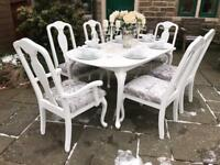 Dining Table & 6 Chairs ~ SILVER CRUSHED VELVET