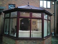 Good Size UVPC Conservatory 3600 x 4200 with beautiful French Doors, white on Rosewood