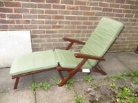 garden lounger, wooden longer, wooden chair, steamer chair with cushion