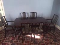 Dark Rich Mahogany Dinning Room Table With 4 Chairs And 2 Carvers****plymouth