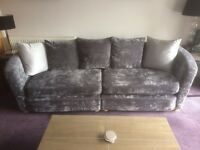 3 seater and 4 seater grey velour sofa in immaculate condition