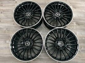 "* NEW 19"" INCH ALLOY WHEELS ALLOYS BLACK C63 AMG STYLE C E A CLASS CLA A45 TURBINE"