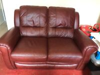 3 piece furniture village leather suite incl electric reclining chair, as new