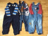 Boys dungarees sets x 3 NEXT and MOTHERCARE Age 9-12 months
