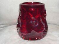 Whitefriars Knobbly Art Glass Vase Ruby Red