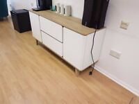 Next white and oak side cabinet - 2 cupboards and 2 drawers