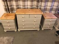 Shabby chic chest of draws and pair of bedside tables