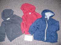 Bundle of 3 jackets/ hoodies for boy 18-24mths/ 18-24 mths/ 1.5-2 years/ 1.5-2years.. Gap and H&M.