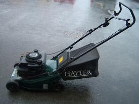 "hayter hunter 41 push mower, 16"" cut, alloy deck, serviced with grassbox, gwo"