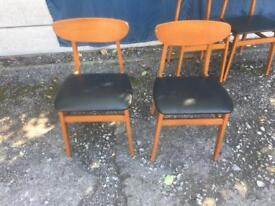 Two mid century retro black leather/vinyl seat covering