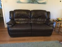 Quality Brown Leather 4 Seater Reclining Sofa