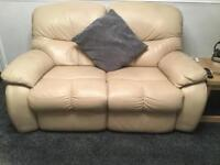 FULL ELECTRIC IVORY RECLINER LEATHER 2 SEATER SETTEE PLUS ONE ARMCHAIR